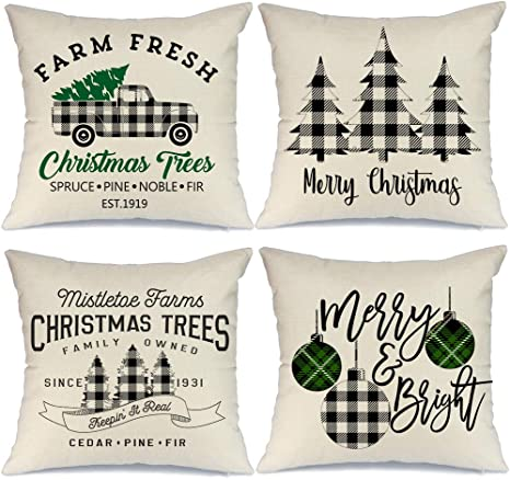 Aeney Christmas Decorations Pillow Covers 18x18 Set Of 4 Marry Bright Buffalo Plaid Tree Christmas Pillows Rustic Winter Holiday Xmas Throw Pillows Farmhouse Christmas Decor Truck For Couch A281 Home