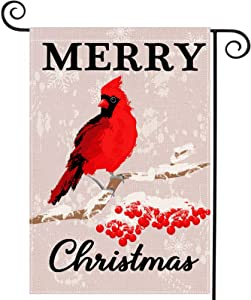 LARMOY Christmas Cardinal Red Bird Garden Flag Outdoor 12.5 x 18 Inch Double Sided,Merry Christmas Winter Welcome Decors Cardinal Snowflake Yard Sign Holiday Xmas Decorations Seasonal Rustic Farmhouse