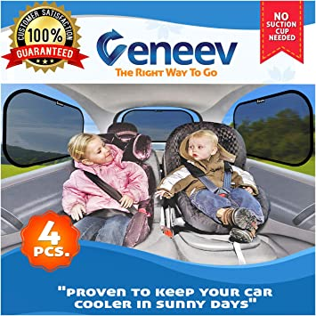 20 x 11 Coindivi Car Window Shade 4 Pack Cling Baby Car Sun Shade for Car Windows Baby Car Shades for Side Window Sun Glare and UV Rays 80 GSM with 15s Protection for Your Child