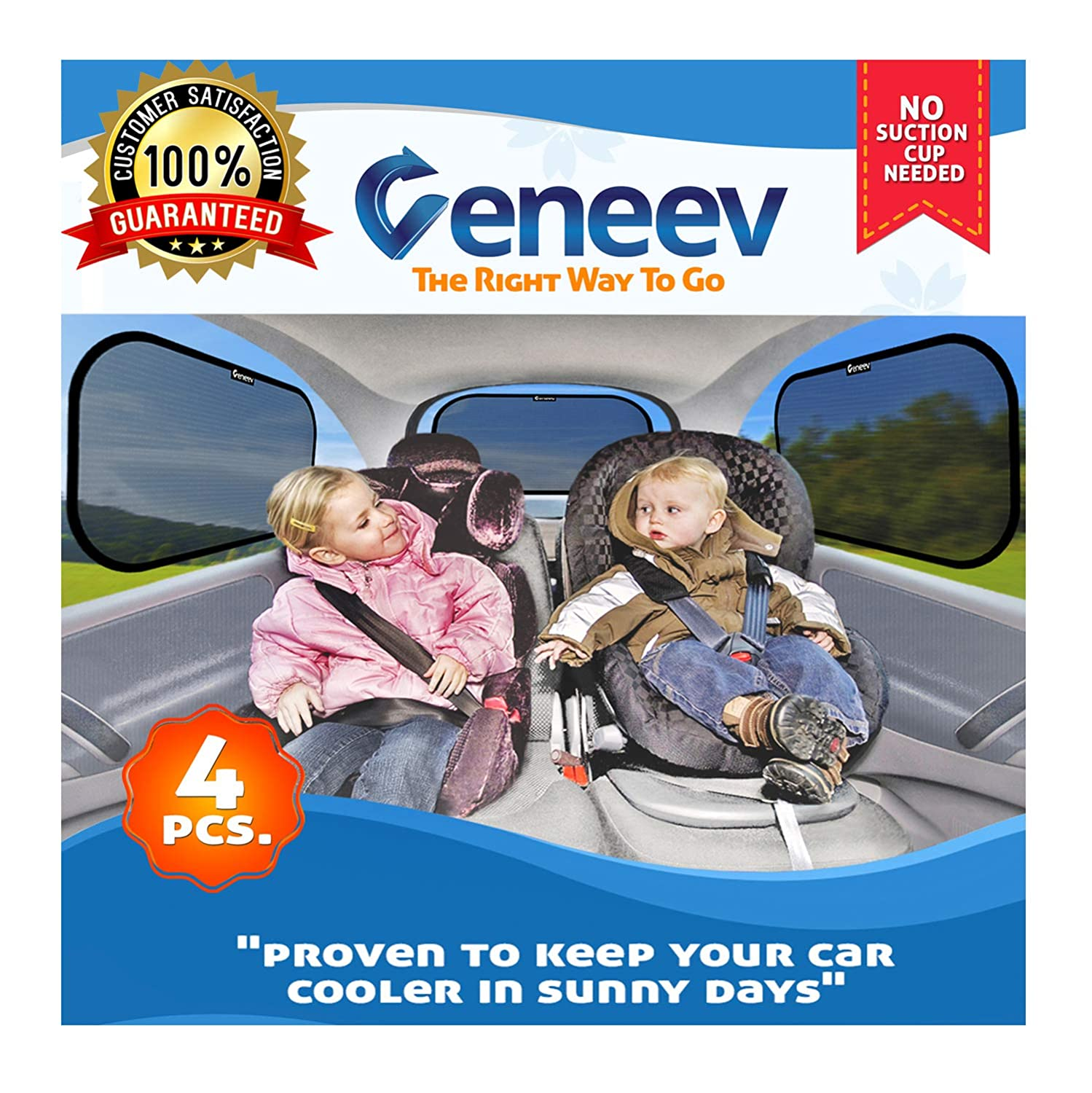 Car Sun Shade for Side and Rear Window (4 Pack) - Car Sunshade Protector