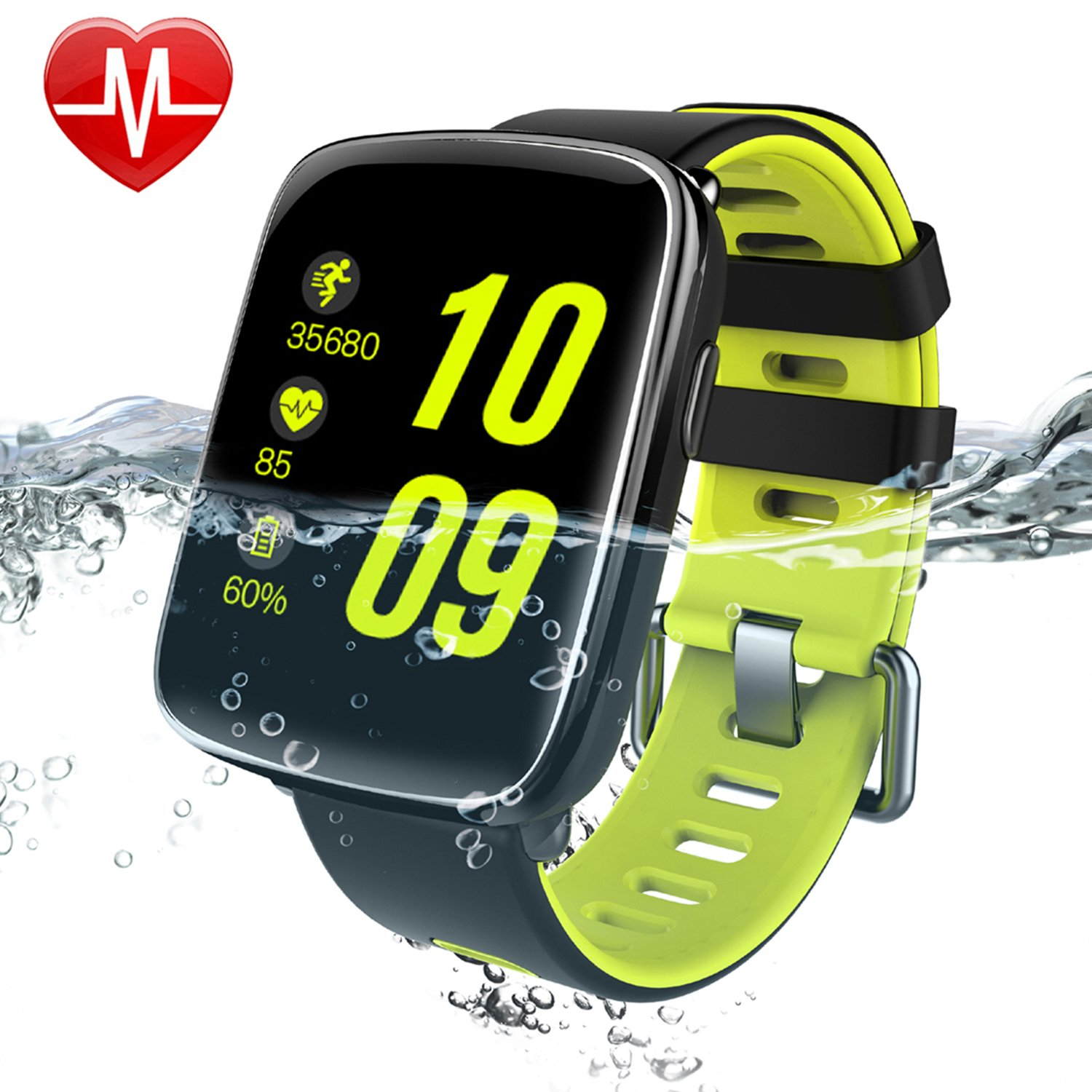 Smart Watch for iPhone & Android Phones,Willful SW018 Bluetooth Smartwatch Fitness Tracker Heart Rate Monitor Watch,Sleep Monitor Pedometer Watch for Men Women Green (IP68 Waterproof,3M Diving)