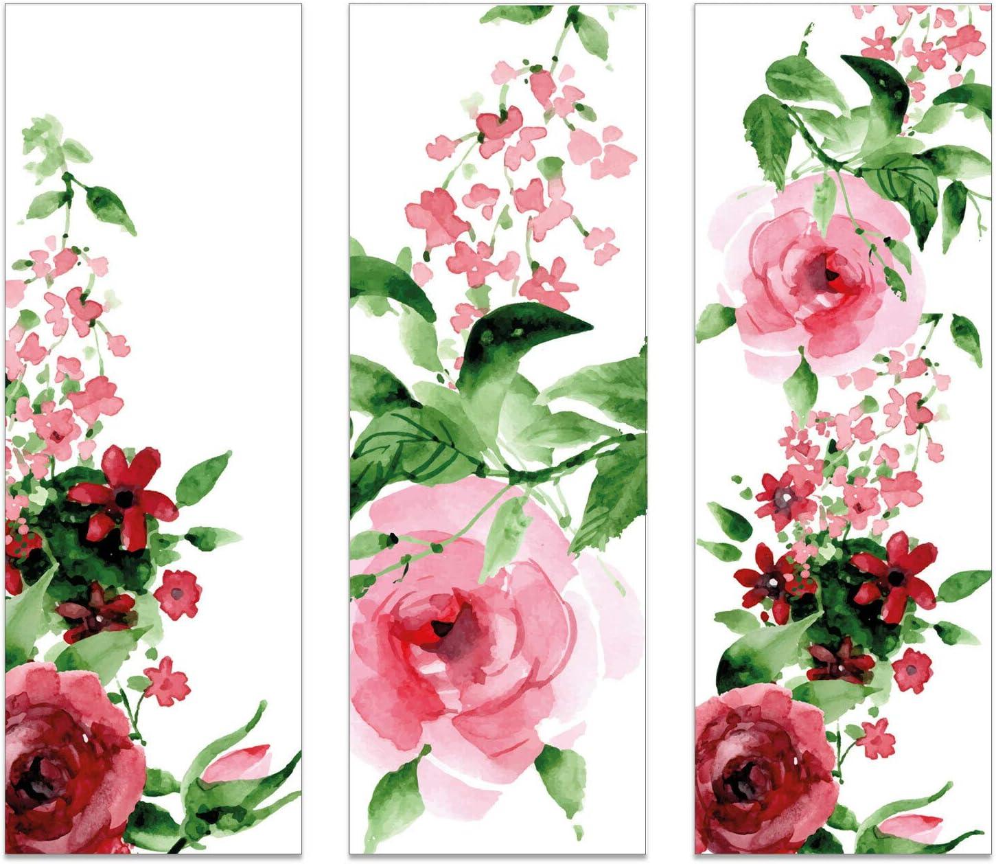 Kinder und Jugendliche I bunt-es Design I dv/_773 12er Set Lesezeichen Aquarell Blumen style I 5,2 x 14,8 cm I 3 Motive aus Papier I R/ückseite blanko I f/ür Frauen