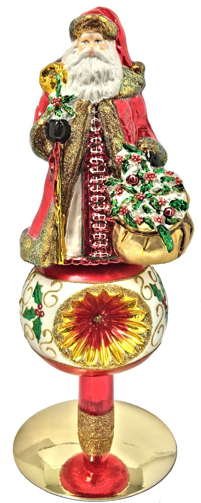 Santa Claus with Holly Reflector Polish Glass Christmas Tree Topper with Stand