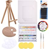 48pc Deluxe Painting Kits for Adults - Includes Adjustable Wood Easels, 10 Brushes Set, 24 Acrylic Paints, Wooden and Plastic