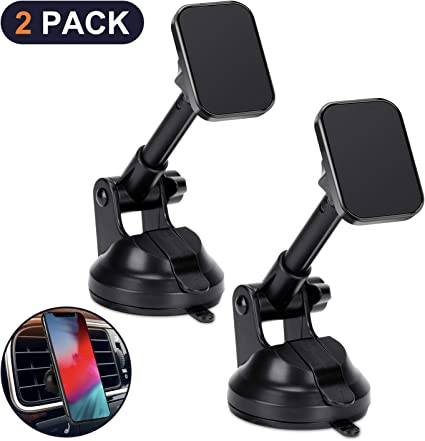 Car Phone Mount Magnetic,APPS2Car Dashboard,Windshield and Air Vent Mount,Phone Holder for Car,Universal Magnetic Phone Car Mount with Powerful Suction Cup,Built-in Strong 6 Magnets for all CellPhones