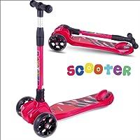 BAYTTER Kinderscooter Dreirad mit verstellbarem Lenker Kinderroller Roller Scooter LED Blinken für Kinder ab 3 4 5 Jahren, bis 100kg belastbar (Modell B in Rot)