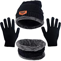 H HOME-MART 3 Pieces Knitted Beanie hat with Gloves,Winter Beanie Hats Scarf Set Warm Knit Hat Thick Fleece Lined Winter…