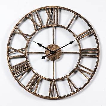 GuoEY Reloj de pared Vintage numeral Romano diseño estilo rústico toscano grande de Madera Decorativos Decoración de pared Reloj de pared redondo: ...