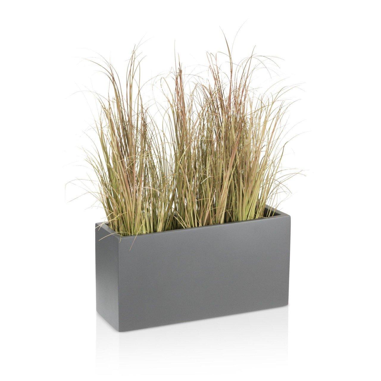 Grand bac /à plantes r/ésistant aux intemp/éries et aux conditions hivernales Bac /à plantes en fibres de verre VISIO Pour l/'int/érieur et l/'ext/érieur DECORAS Couleur : gris mat