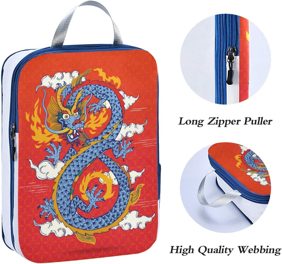 ATONO Traditional Chinese Oriental Dragon Spewing Flames Travel Packing Cubes Luggage Organizer Bags Storage 3 Pack Sets Toiletries Shoe Bag for Business Trip Holiday Kids/&Adults
