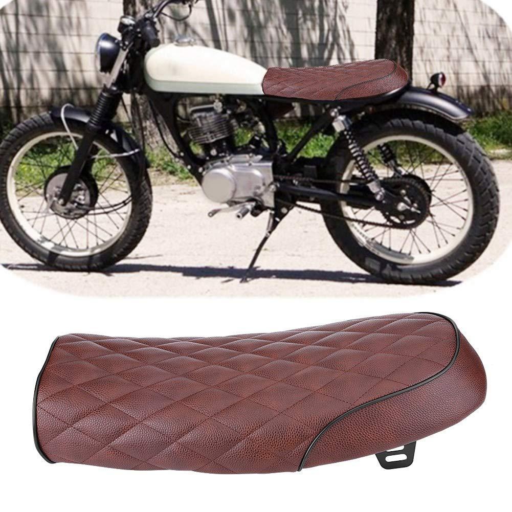 marr/ón Liukouu Motocicleta PU Cuero Vintage Cafe Racer Asiento Coj/ín de Asiento Plano para Honda CG125 GN CG CB400SS