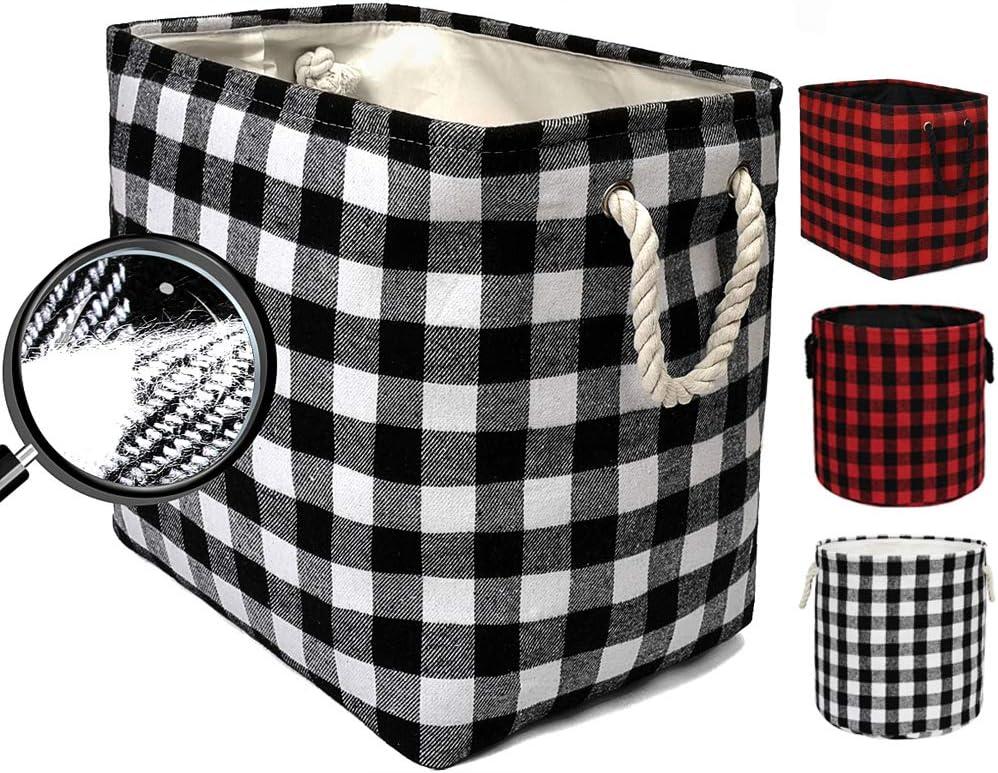 Large Rectangular Decorative Storage Bins Foldable Laundry Hamper Baskets Buffalo Grid Pattern with Rope Handles for Blankets, Toys, Nursery, White Black Grid, L