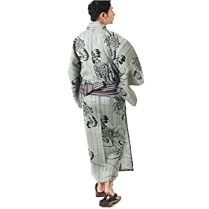 【浴衣+帯+下駄+腰紐】JUNKO KOSHINO高級・男性用お仕立て上がり浴衣4点セット(ピーグリーン・LLサイズ)
