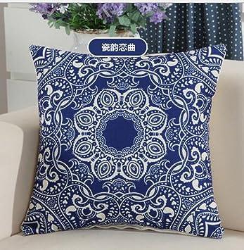 Amazon.com: Algodón lino Simple hermoso azul y blanco ...