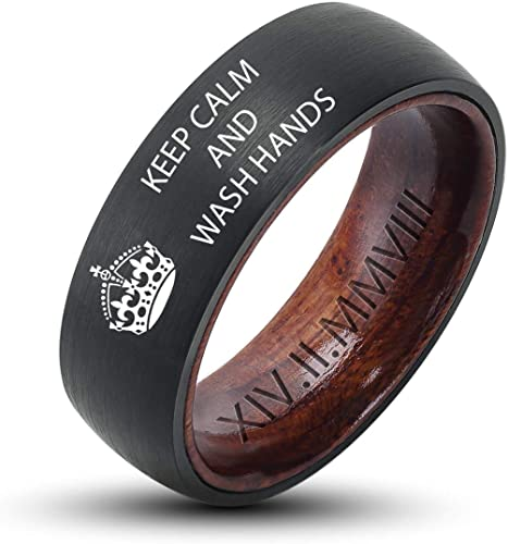 High Polished UlanMoron Custom Engraved Wedding Bands Mens 8mm Classic Tungsten Carbide Rings