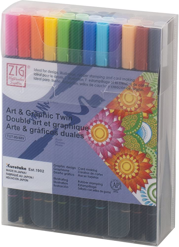 Kuretake ZIG ART & GRAPHIC TWIN 48 colors set, 0.8mm fine tip and the flexible brush, For illustrating, cartooning, Professional quality, AP-Certified, Odourless, Xylene Free, Made in Japan