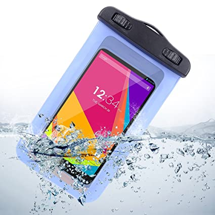 more photos 36b24 2d6d0 5-INCH Sumaclife Universal Waterproof Case For Samsung Galaxy Core Prime /  LG G3 Vigor / LG Intuition (Blue)