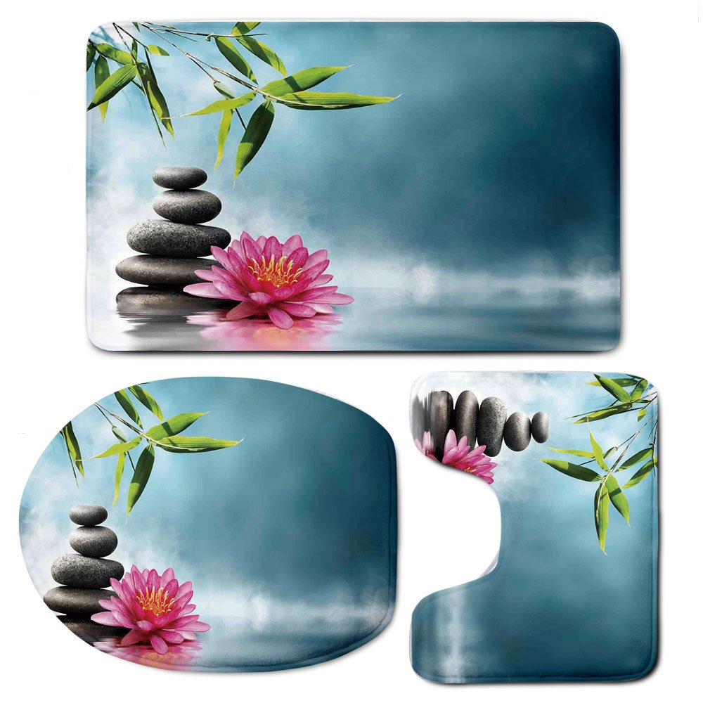 3 Piece Bath Mat Rug Set,Spa-Decor,Bathroom Non-Slip Floor Mat,Spa-Theme-Picture-with-Lily-Lotus-Flower-and-Rocks-Yoga-Style-Purifying-Your-Soul-Theme,Pedestal Rug + Lid Toilet Cover + Bath Mat,Blue-P