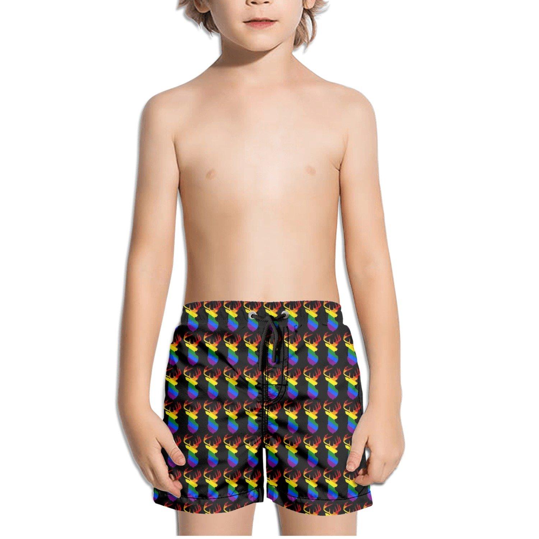 LGBT Pride Buck Deer Rainbow Kids Boy's Fast Drying Beach Swim Trunks Pants