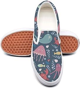 Vosda Navy Blue Shark Shark Bites Classic Women Canvas Slip-On Shoes Sneaker