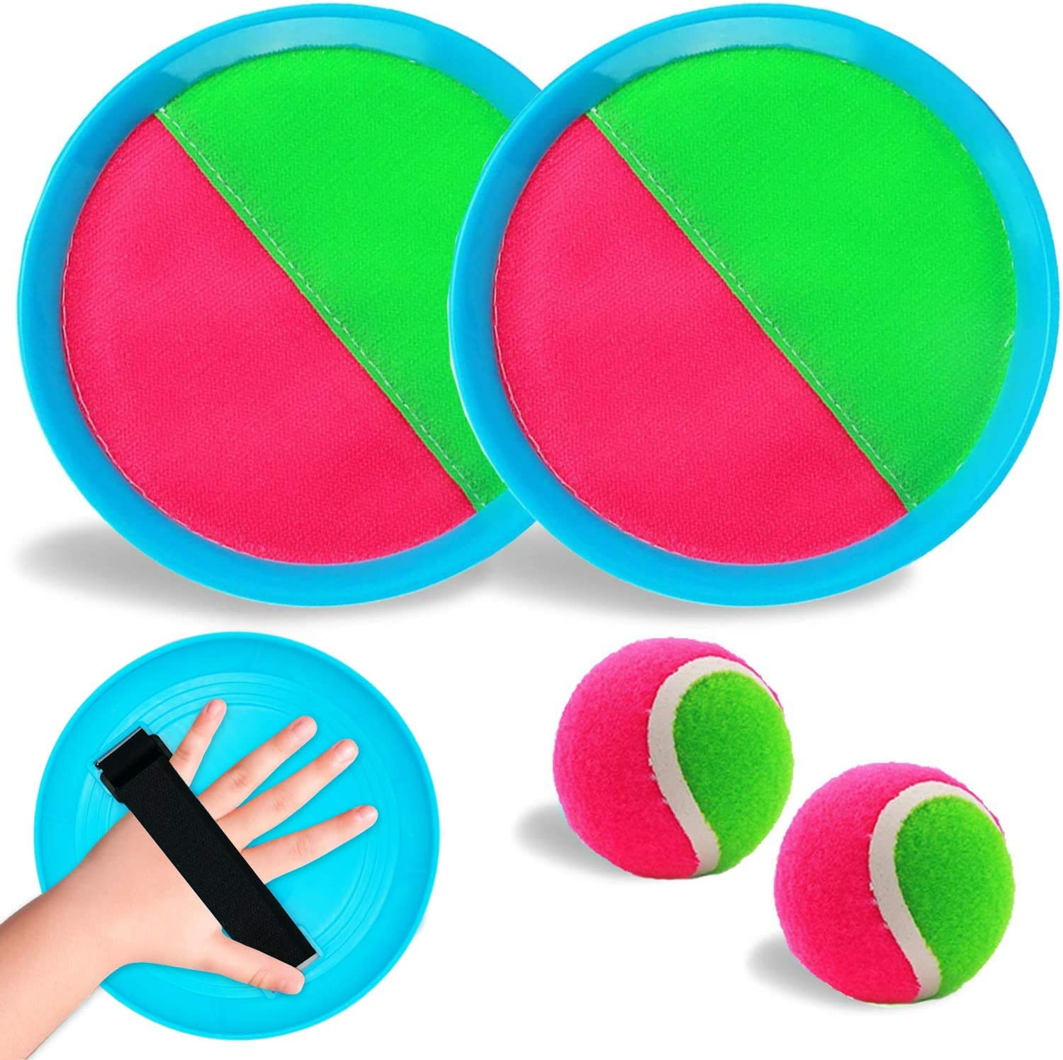 Abbiline Velcro Paddle Toss and Catch Ball Set-2 Rackets 2 Balls Upgraded Version Paddle Catch Games Outdoor Beach Toy for Boys Girls Kids