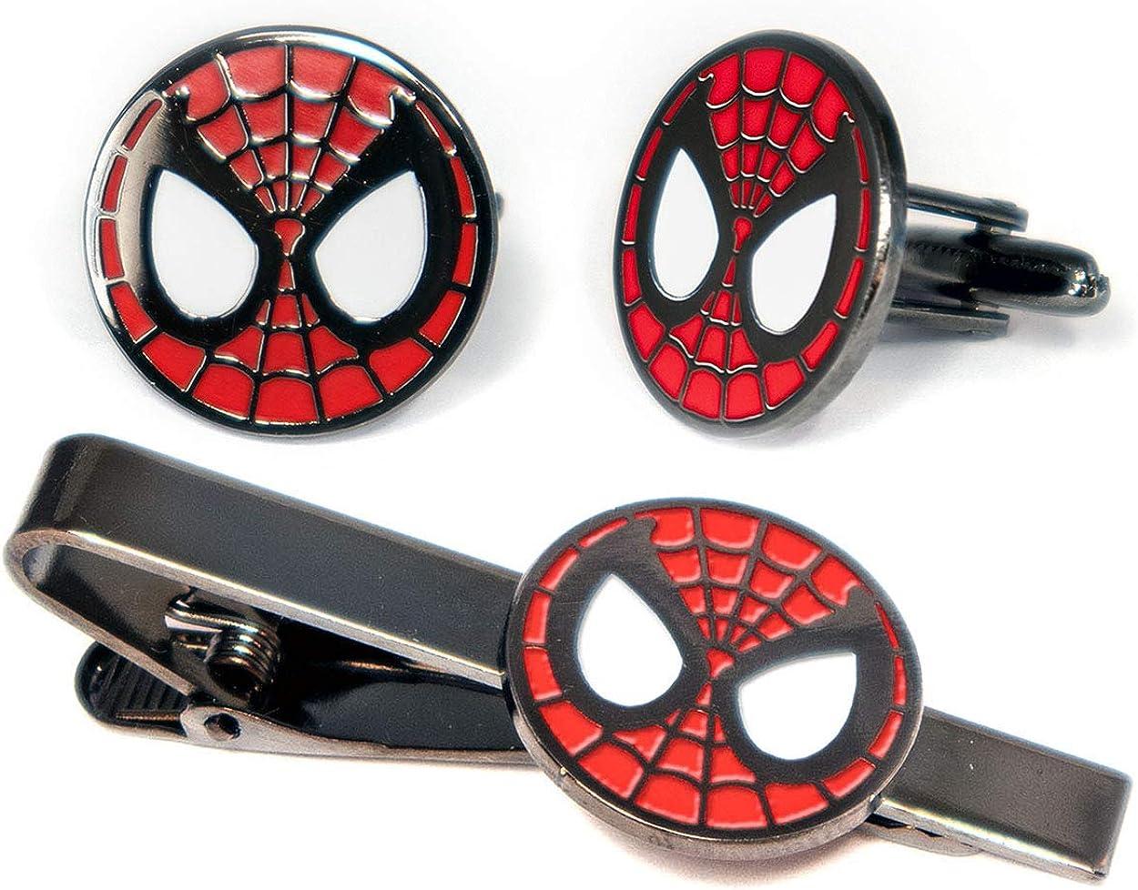 SharedImagination Spider-Man Cufflinks, Minimalist Marvel Avengers Tie Clip, Amazing Spiderman Jewelry, Ironman Captain America Tie Tack Present, Cuff Links Wedding Party Groomsmen Gift