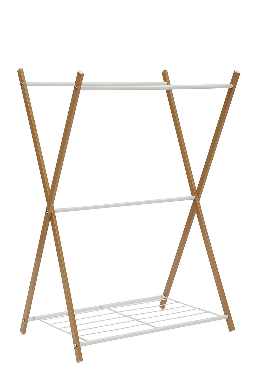 Home-Like Standing Towel Stand Clothes Hanging Rail Garment Rack Freestanding Rail Holder Shelf Bathroom Storage Stand Drying RackLaundry Towels Hanger 66x47x86cm
