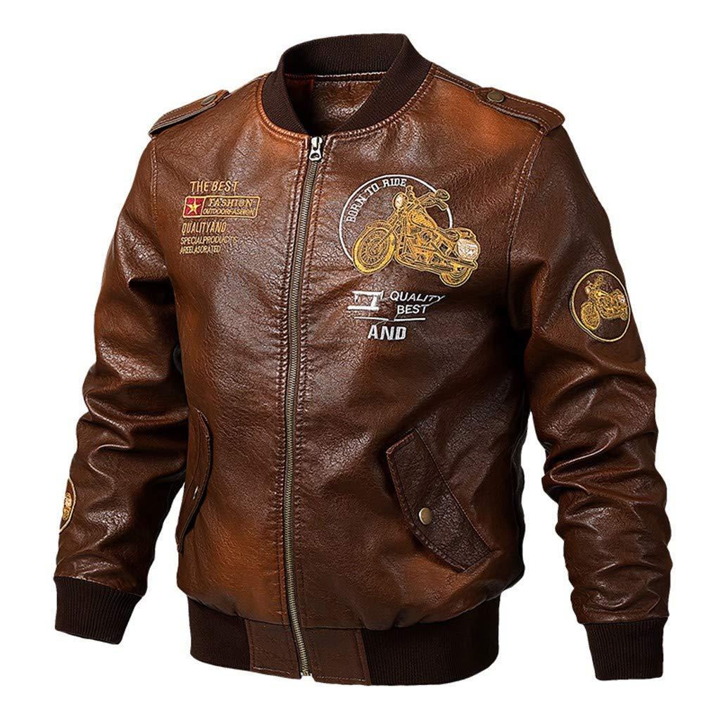 refulgence Men Biker Retro Faux Leather Motorcycle Jacket Casual Fashion Print Zipper Coat (Brown,M) by refulgence