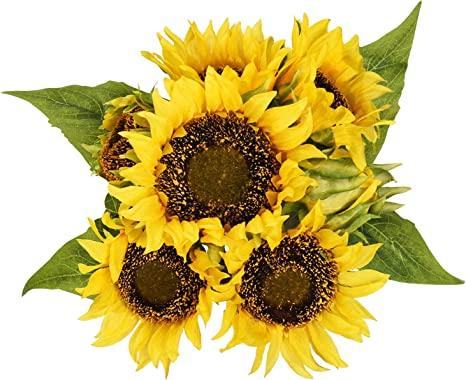 7 Heads Artificial Sunflowers Fake Flower Floral Bouquet Home Garden Shop Decors