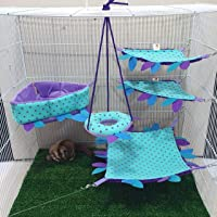 5 Pieces Sugar Glider, Hamster, Squirrel, Hedgehog, Chinchillas, Rabbit, Ferret, Small Pet Cage Set Colorful Purple & Blue Color