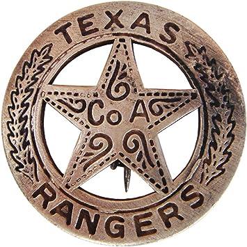 Brass Texas Ranger Badge With Peso Back
