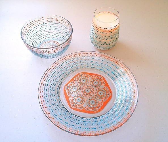 Mandala Dinnerware Dining Set Dishes Plate Bowl Glass 3 Pieces & Amazon.com: Mandala Dinnerware Dining Set Dishes Plate Bowl ...