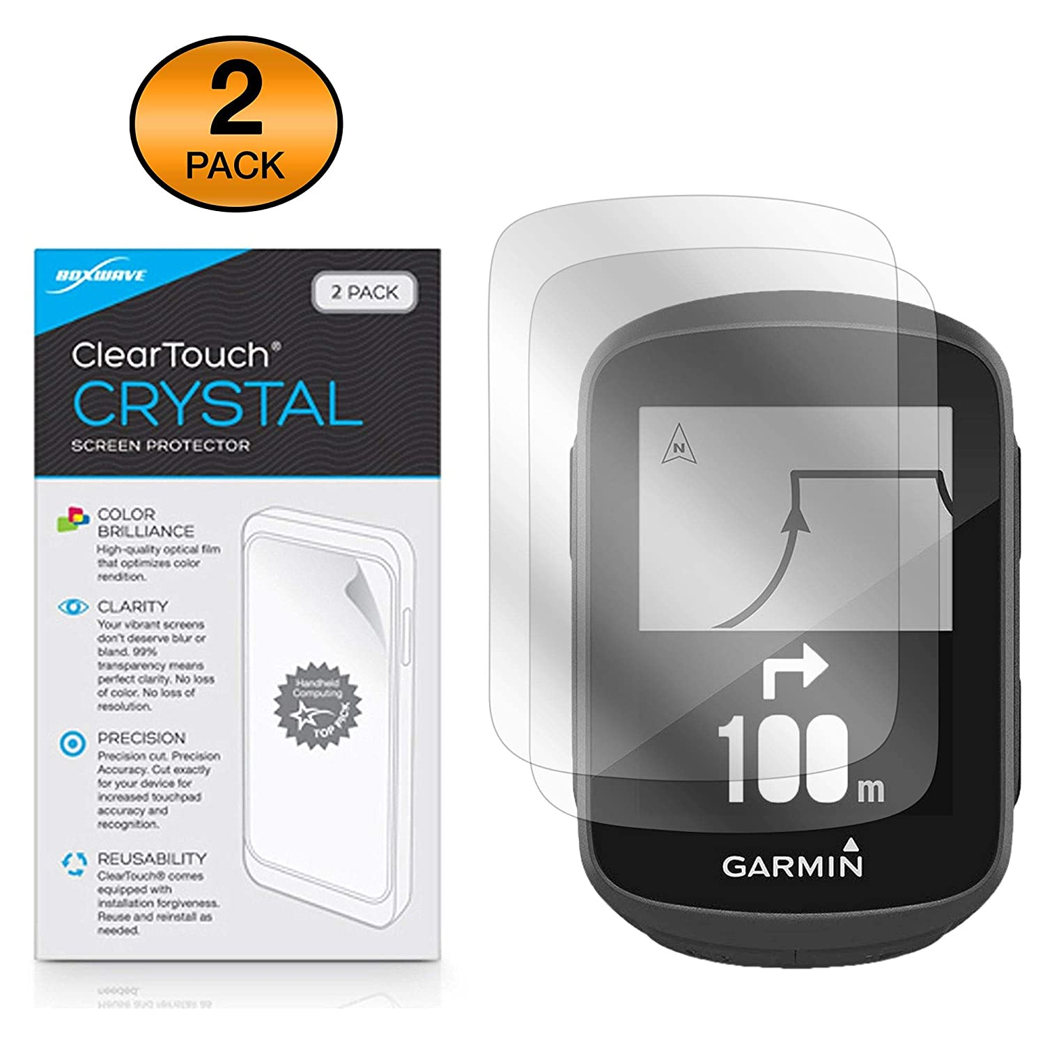 2-Pack ClearTouch Crystal BoxWave Garmin Edge 130 Screen Protector, HD Film Skin Shields from Scratches for Garmin Edge 130