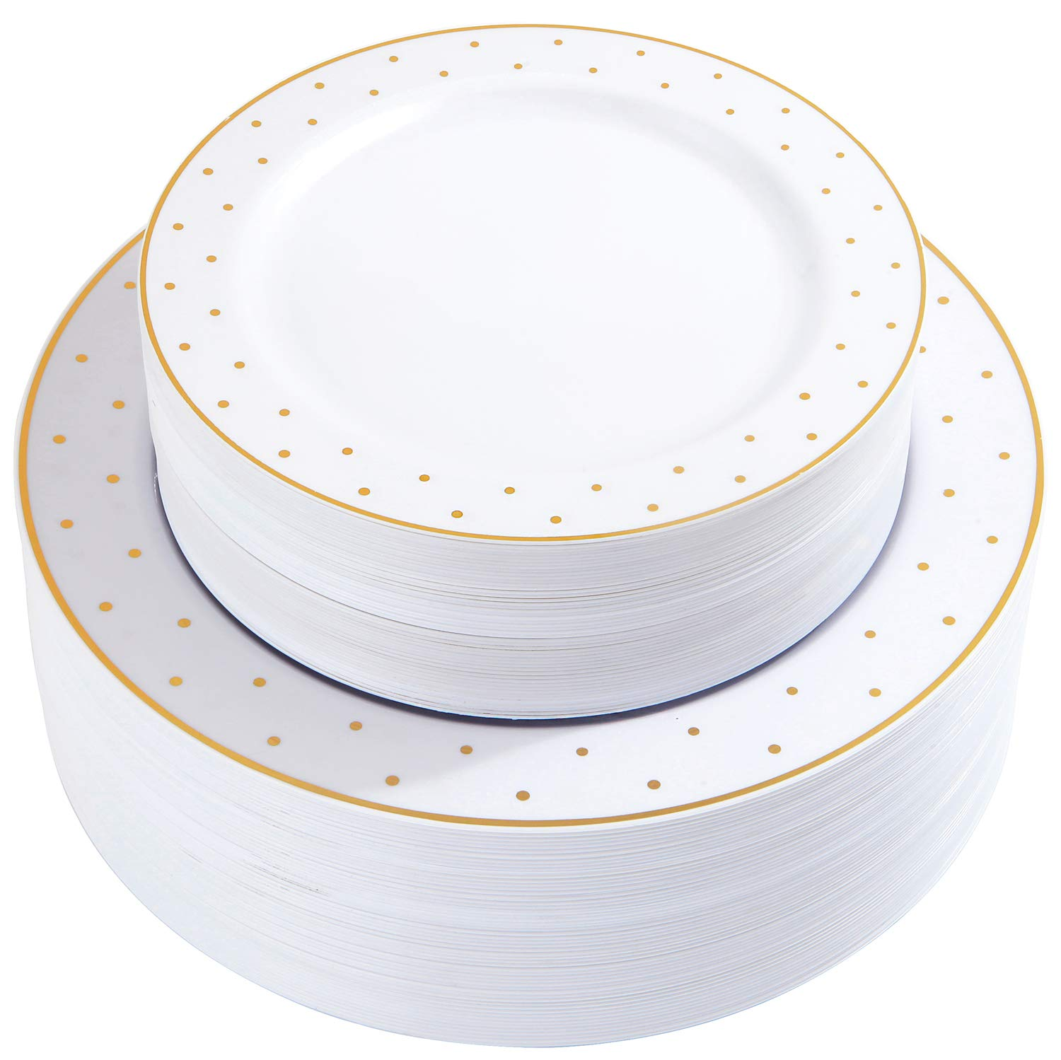 102pcs Gold Plastic Plates, Premium Combo Disposable Dinnerware, Party Plastic Plates, Dot Plates suit for Wedding Includes: 51 Dinner Plates 10.25'' and 51 Dessert Plates 7.25'' by supernal