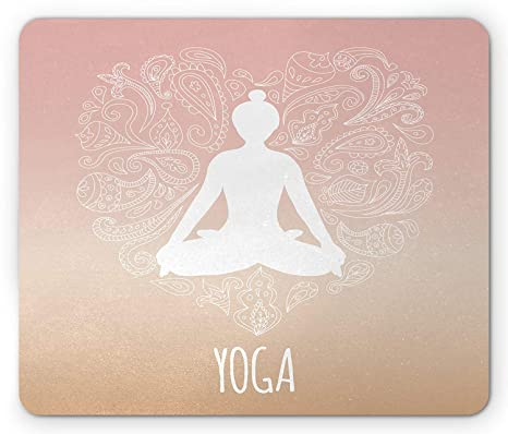 Amazon.com : Yoga Mouse Pad, Silhouette of Girl Lotus Pose ...
