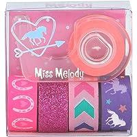 Depesche 5719 Deco Tape Miss Melody, kleurrijk plakband, 5 rollen inclusief afroller, gesorteerd