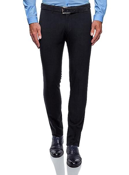 56ebb9f64f5a5 oodji Ultra Hombre Pantalones Ajustados con Pinzas  Amazon.es  Ropa y  accesorios