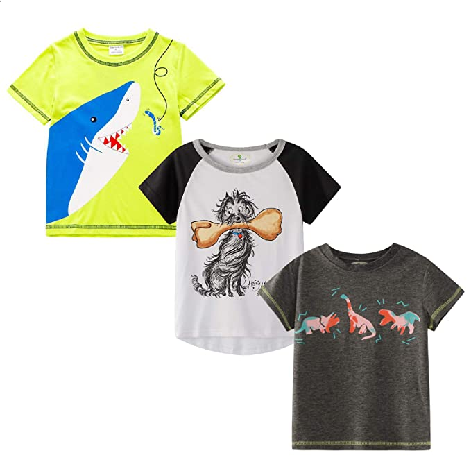 MSSMART Toddler Boys T-Shirt Kids Cotton Top 3-Pack Size 18M-7T