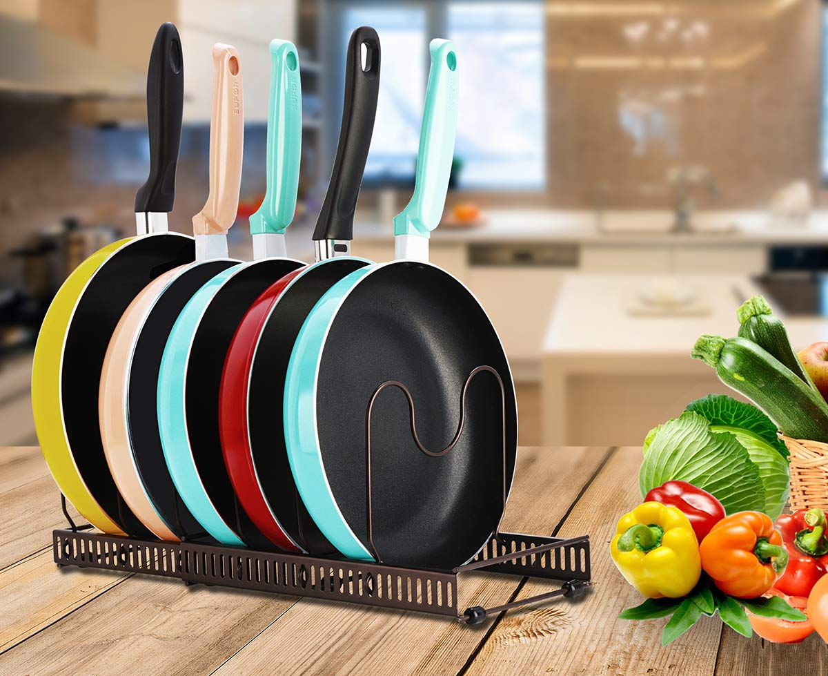 Toplife Expandable Pans Organizer Rack,10 Adjustable Compartments, Pantry Cabinet Bakeware Lid Plate Holder by Toplife (Image #7)