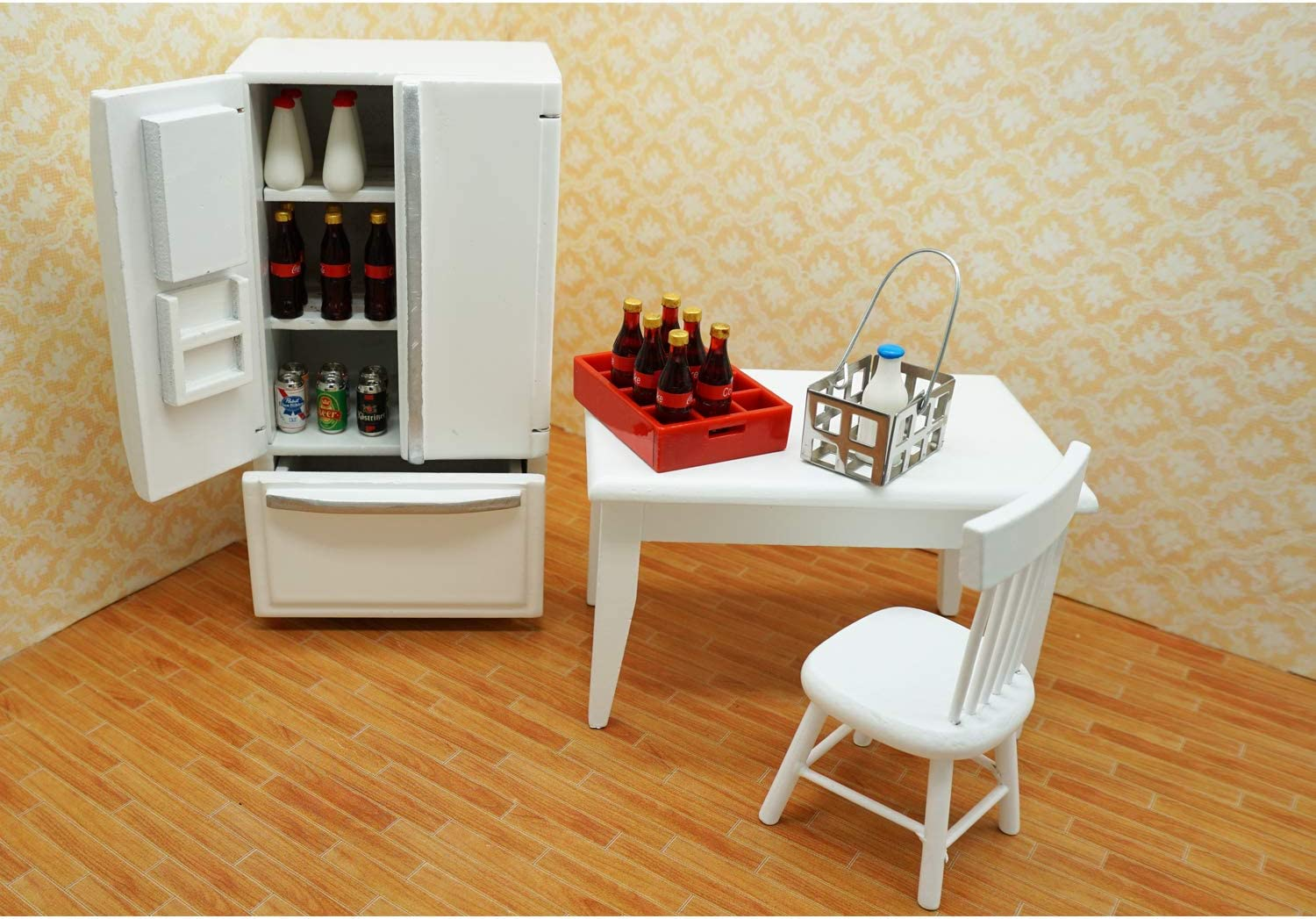 for Kitchen Room Furniture 26 Pieces White 1:12 Dollhouse Refrigerator Set