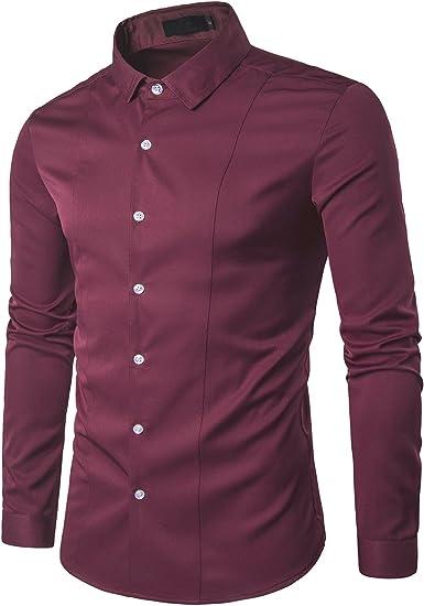 d.Stil - Camisa Formal - con los Botones - Liso - Clásico - Manga Larga - para Hombre Granate XXL: Amazon.es: Ropa y accesorios