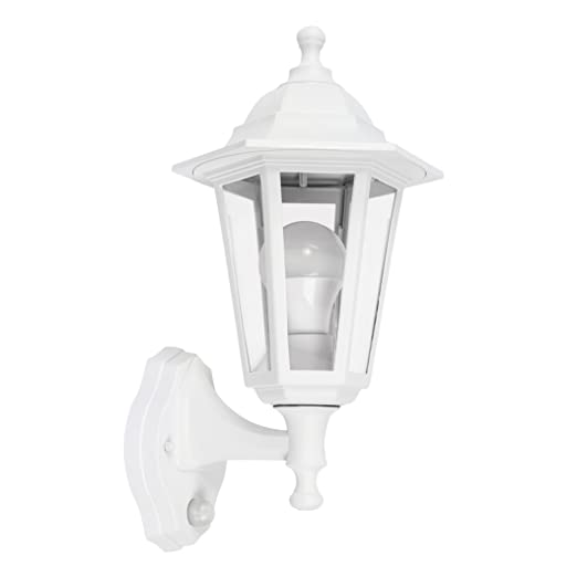 Traditional Victorian Style Matt White Outdoor Garden Security IP44 Rated Wall Light Lantern