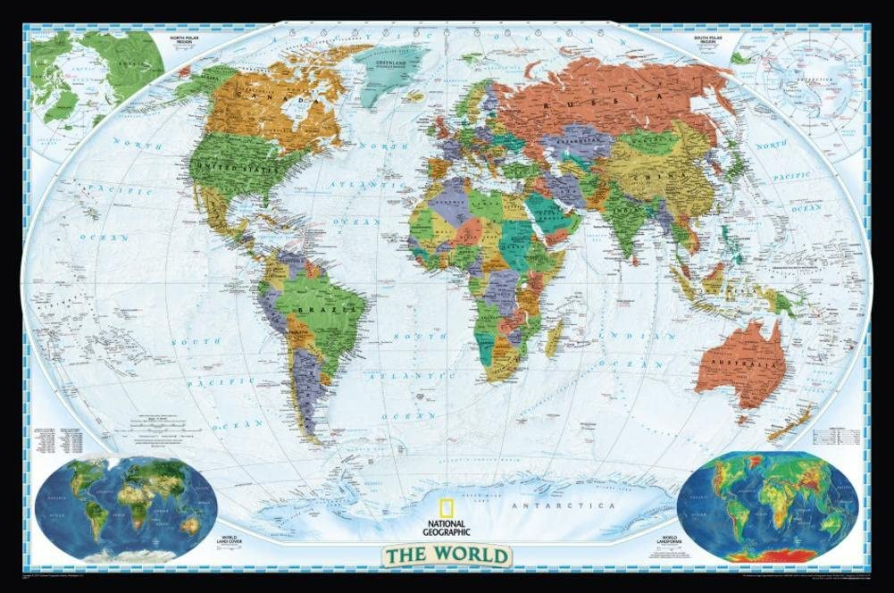 National Geographic World Political Map, Decorator Style Giant Poster on europe shaded on a world map, national geographic world mural map, national geographic language world map, national geographic world map wallpaper, national geographic framed world map, national geographic large world map,