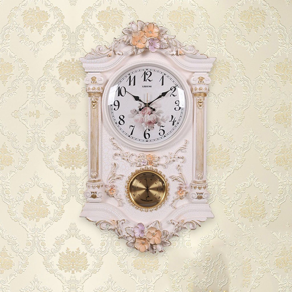 ヨーロッパスタイルのレトロなリビングルームのパーソナリティ振り子の鐘静かな壁時計 B07DH4LCBD