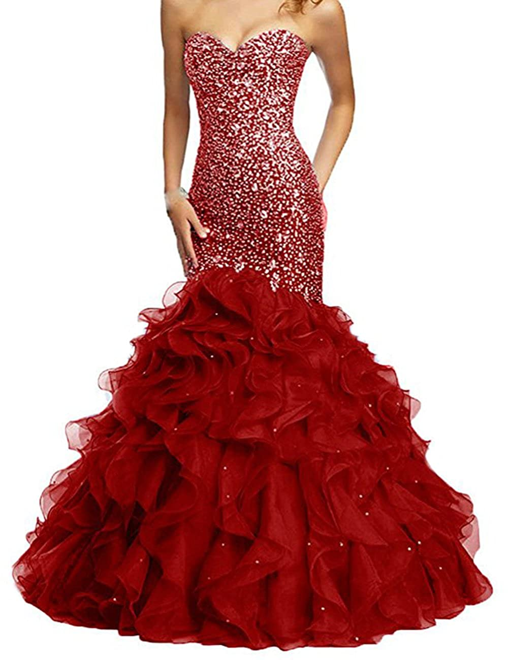 Dark Red Beautydress Luxury Beaded Lace Up Sweetheart Mermaid Prom Dresses for Women BP116