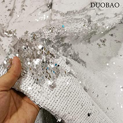 23c52cf08 Image Unavailable. Image not available for. Color  DUOBAO White to Silver Mermaid  Fabric by The Yard Two Tone Sequin Fabric Sequence Fabric Reversible