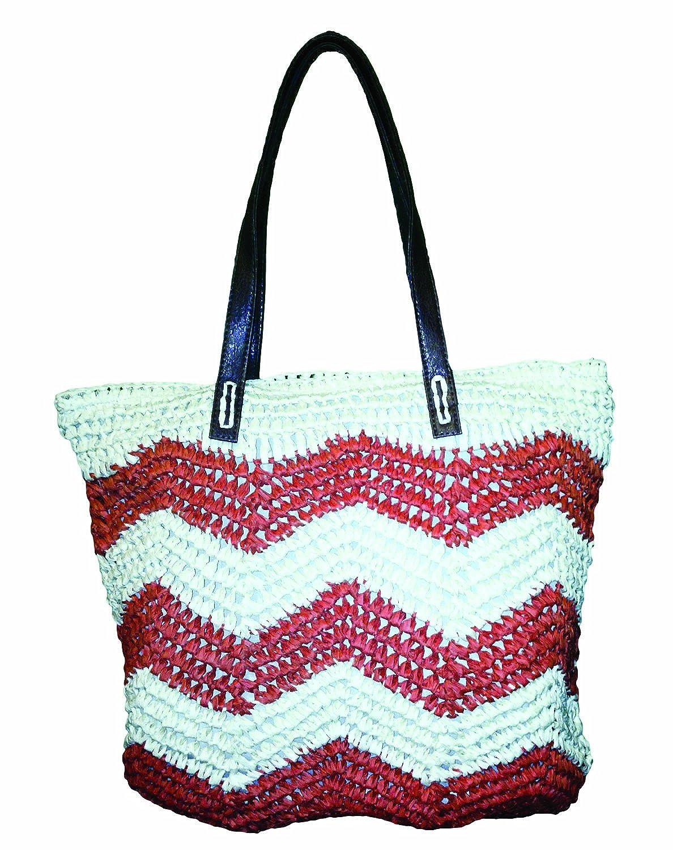 Amazon.com | Large Zipper Top Chevron Straw Beach Bag Tote (CORAL ...