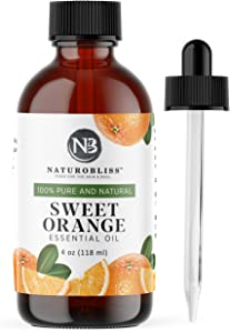 NaturoBliss 100% Pure & Natural Sweet Orange Essential Oil Therapeutic Grade Premium Quality Oil with Glass Dropper - Huge 4 fl. Oz - Perfect for Aromatherapy and Relaxation