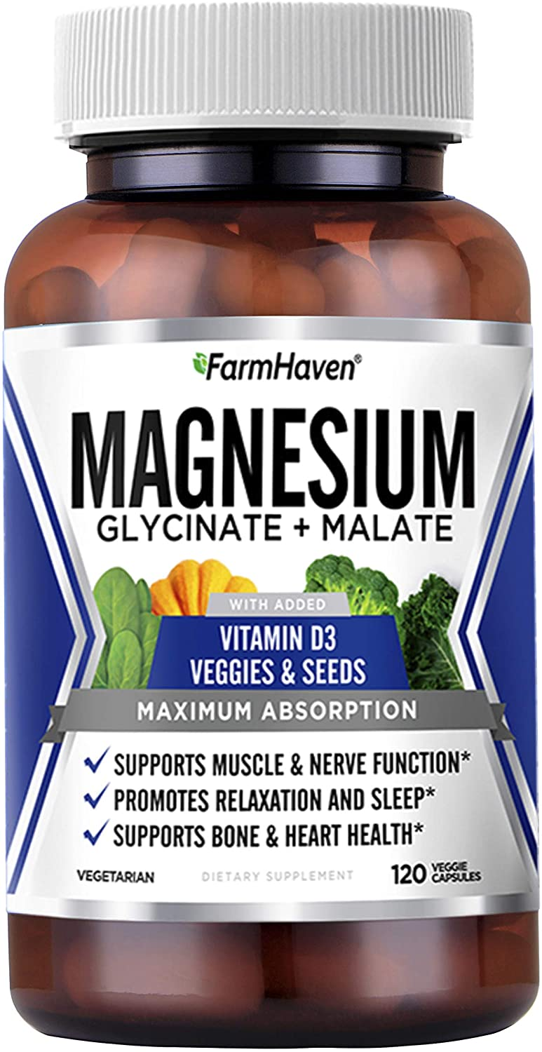 FarmHaven Magnesium Glycinate & Malate Complex, 100% Chelated for Max Absorption, No Laxative Effect, Vegan - Sleep, Leg Cramps Relief, Anti-Stress, Muscle Cramps - 250mg, 120 Capsules, 60 Day Supply