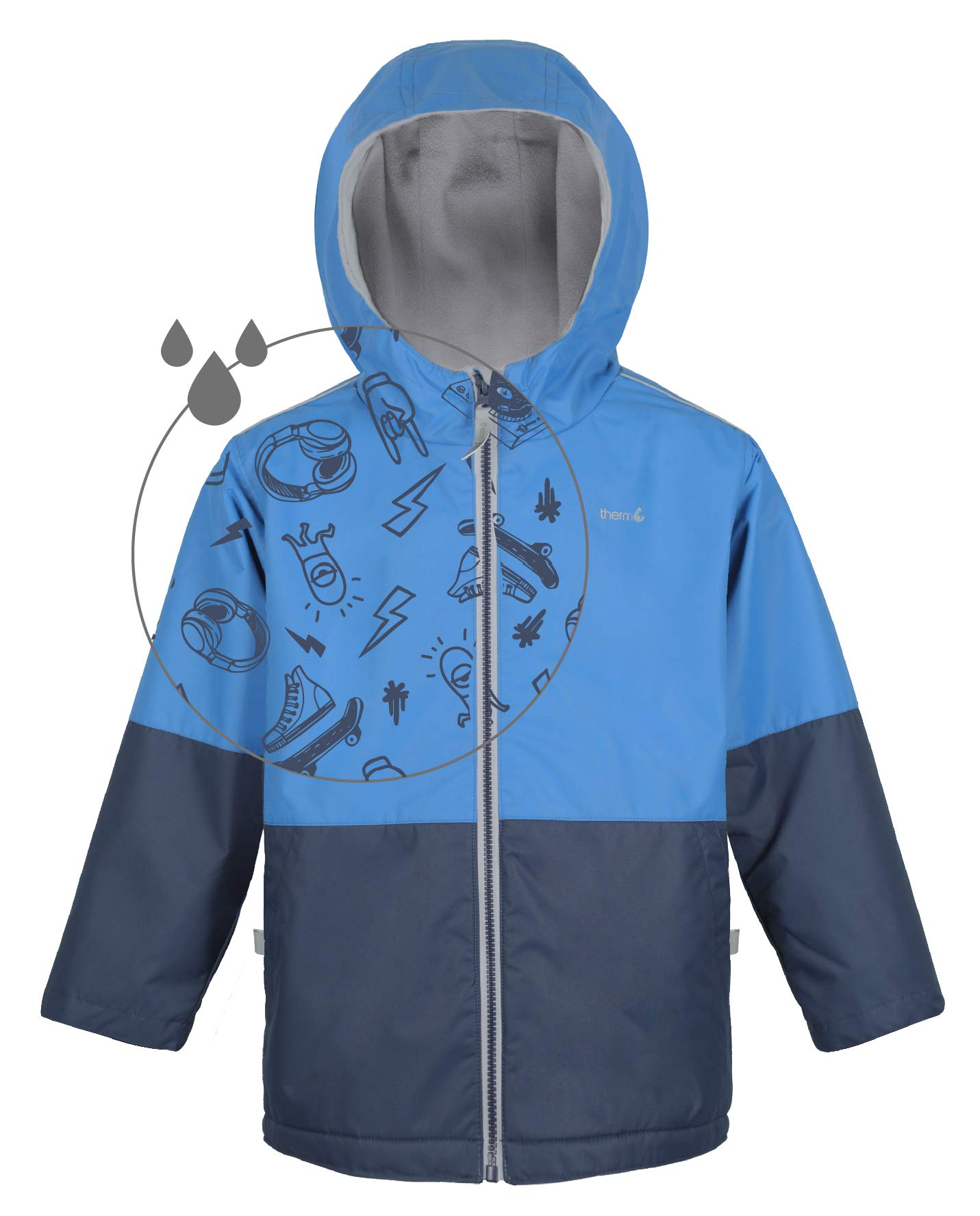 Therm Boys Rain Jacket, Lightweight Winter Raincoat w Magic Pattern - Fleece Lined - Toddler Kids Youth Clothes (2, Blue) by Therm